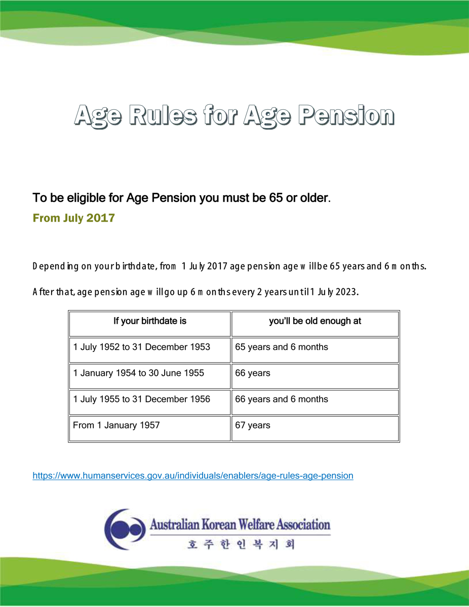 Age Rules for Age Pension_From July 2017